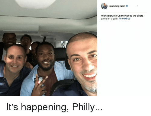 Game, Sixers, and Philly: michaelgrubin  michaelgrubin On the way to the sixers  game let's go!! It's happening, Philly...