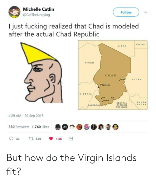libya: Michelle Catlin  @CatTheUndying  Follow  I just fucking realized that Chad is modeled  after the actual Chad Republic  EGYPT  LIBYA  NIGER  CHA D  SUDAN  NIGERIA  CENTRAL  AFRICAN  SOUT  SUDAN  MEROON  4:29 AM- 29 Sep 2017  550 Retweets 1,760 Likes  0 0 But how do the Virgin Islands fit?