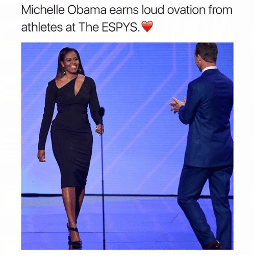 Memes, Michelle Obama, and Obama: Michelle Obama earns loud ovation from  athletes at The ESPYS