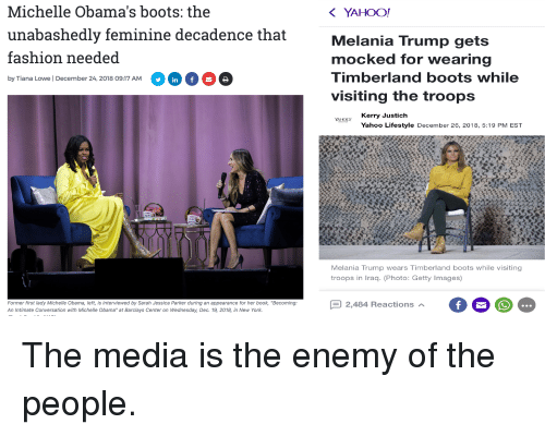 """timberland boots: Michelle Obama's boots: the  YAHOO!  unabashedly feminine decadence that  Melania Trump gets  mocked for wearing  Timberland boots while  visiting the troops  fashion needed  by Tiana Lowe 