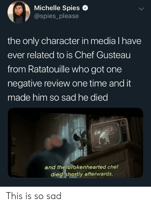 Ratatouille: Michelle Spies e  @spies_please  the only character in media l have  ever related to is Chef Gusteau  from Ratatouille who got one  negative review one time and it  made him so sad he died  and the brokenhearted chef  died shortly afterwards, This is so sad