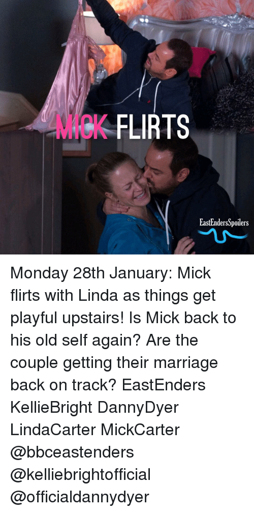 EastEnders: MICK  K FLIRTS  EastEndersSpoilers Monday 28th January: Mick flirts with Linda as things get playful upstairs! Is Mick back to his old self again? Are the couple getting their marriage back on track? EastEnders KellieBright DannyDyer LindaCarter MickCarter @bbceastenders @kelliebrightofficial @officialdannydyer