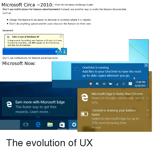 Draining: Microsoft Circa 2010: (from the Windows Ux/Design Guide)  Don't use notifications for feature advertisements! Instead, use another way to make the feature discoverable,  such as:  Design the feature to be easier to discover in contexts where it is needed.  Don't do anything special and let users discover the feature on their own.  Incorrect:  Take a tour of windows XP  To learn about the exciting new features in XP now, click here.  To take the tour later, click All Programs on the Start menu,  and then click Accessories  Don't use notifications for feature advertisements.  Microsoft Now  OneDrive is running  Add files to your OneDrive to have the most  up-to-date copies wherever you go.  11:48 PM  4/28/2015  管.ill q,  Microsoft Edge is faster than Chrome  Based on Google's benchmark. Switch V  8:09p  Earn more with Microsoft Edge  The faster way to get free  rewards. Learn more.  Chrome is draining your battery X  faster  Switch to Microsoft Edge for up to  32% more browsing time.  Monday The evolution of UX
