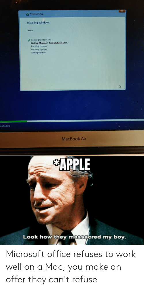 Microsoft Office: Microsoft office refuses to work well on a Mac, you make an offer they can't refuse