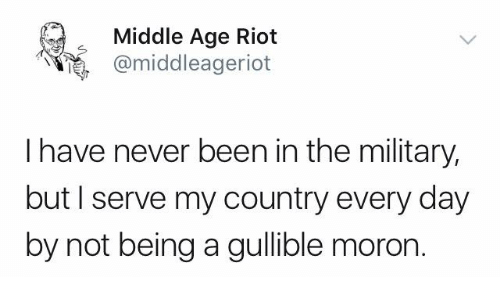 Memes, Riot, and Military: Middle Age Riot  e, @middleageriot  I have never been in the military,  but I serve my country every day  by not being a gullible moron.