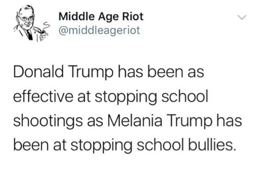 Donald Trump, Melania Trump, and Memes: Middle Age Riot  @middleageriot  pe.  Donald Trump has been as  effective at stopping school  shootings as Melania Trump has  been at stopping school bullies.