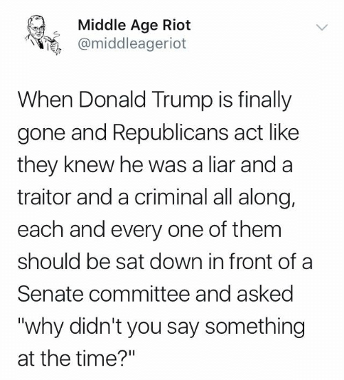 "Donald Trump: Middle Age Riot  @middleageriot  When Donald Trump is finally  gone and Republicans act like  they knew he was a liar and a  traitor and a criminal all along,  each and every one of them  should be sat down in front of a  Senate committee and asked  ""why didn't you say something  at the time?"""