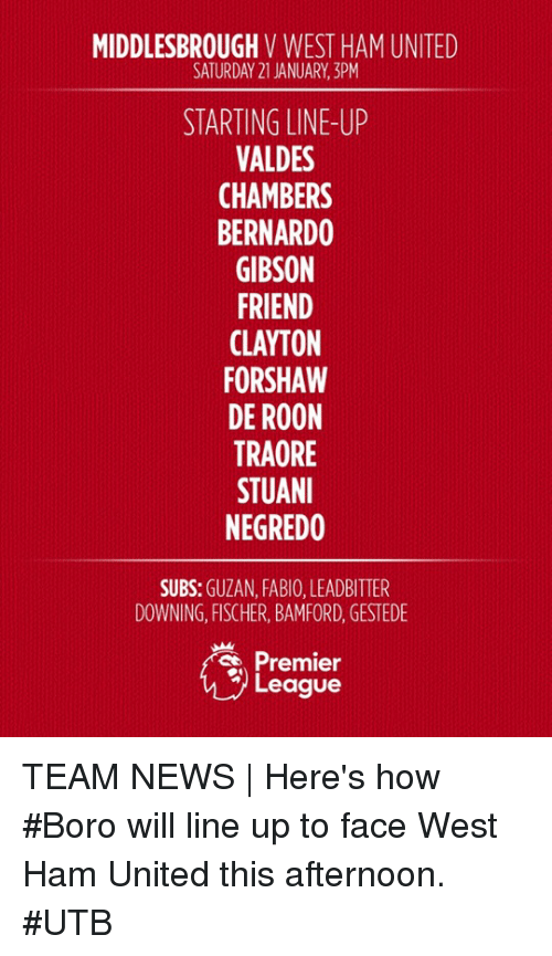 premier-league-teams: MIDDLESBROUGH  V WEST HAM UNITED  SATURDAY 21 JANUARY, 3PM  STARTING LINE-UP  VALDES  CHAMBERS  BERNARDO  GIBSON  FRIEND  CLAYTON  FORSHAW  DE ROON  TRAORE  STUANI  NEGREDO  SUBS  GUZAN, FABIO, LEADBITTER  DOWNING, FISCHER, BAMFORD, GESTEDE  Premier  League TEAM NEWS | Here's how #Boro will line up to face West Ham United this afternoon. #UTB