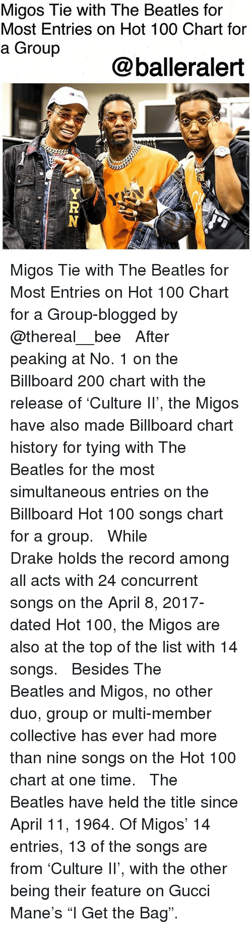 """Anaconda, Bailey Jay, and Billboard: Migos Tie with The Beatles for  Most Entries on Hot 100 Chart for  a Group  @balleralert Migos Tie with The Beatles for Most Entries on Hot 100 Chart for a Group-blogged by @thereal__bee ⠀⠀⠀⠀⠀⠀⠀ ⠀⠀⠀⠀ After peaking at No. 1 on the Billboard 200 chart with the release of 'Culture II', the Migos have also made Billboard chart history for tying with The Beatles for the most simultaneous entries on the Billboard Hot 100 songs chart for a group. ⠀⠀⠀⠀⠀⠀⠀ ⠀⠀⠀⠀ While Drake holds the record among all acts with 24 concurrent songs on the April 8, 2017-dated Hot 100, the Migos are also at the top of the list with 14 songs. ⠀⠀⠀⠀⠀⠀⠀ ⠀⠀⠀⠀ Besides The Beatles and Migos, no other duo, group or multi-member collective has ever had more than nine songs on the Hot 100 chart at one time. ⠀⠀⠀⠀⠀⠀⠀ ⠀⠀⠀⠀ The Beatles have held the title since April 11, 1964. Of Migos' 14 entries, 13 of the songs are from 'Culture II', with the other being their feature on Gucci Mane's """"I Get the Bag""""."""