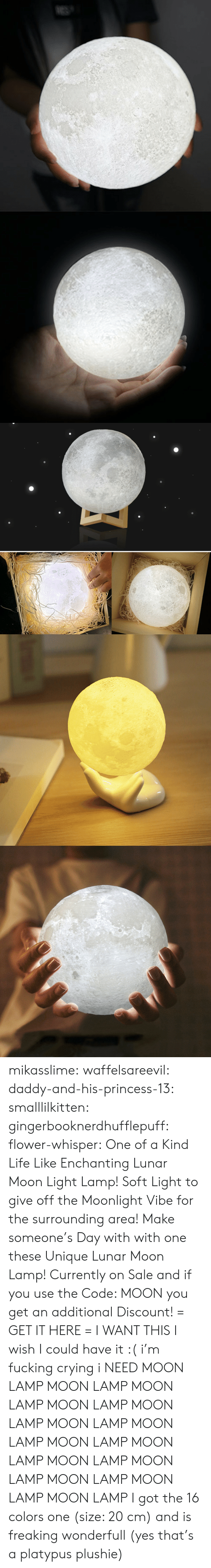 Plushie: mikasslime: waffelsareevil:   daddy-and-his-princess-13:  smalllilkitten:   gingerbooknerdhufflepuff:   flower-whisper:  One of a Kind Life Like Enchanting Lunar Moon Light Lamp! Soft Light to give off the Moonlight Vibe for the surrounding area! Make someone's Day with with one these Unique Lunar Moon Lamp! Currently on Sale and if you use the Code: MOON you get an additional Discount! = GET IT HERE =   I WANT THIS   I wish I could have it :(   i'm fucking crying i NEED   MOON LAMP MOON LAMP MOON LAMP MOON LAMP MOON LAMP MOON LAMP MOON LAMP MOON LAMP MOON LAMP MOON LAMP MOON LAMP MOON LAMP MOON LAMP MOON LAMP     I got the 16 colors one (size: 20 cm) and is freaking wonderfull (yes that's a platypus plushie)