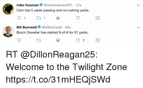 Osweiler: mike freeman@mikefreemanNFL 57s  Cam has 5 yards passing and no rushing yards.  Bill Barnwell@billbarnwell-58s  Brock Osweiler has started 8-of-8 for 91 yards.  2 RT @DillonReagan25: Welcome to the Twilight Zone https://t.co/31mHEQjSWd