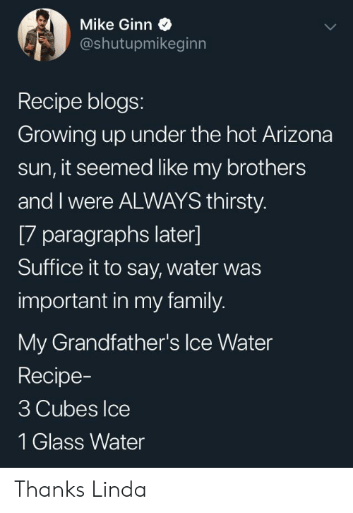 cubes: Mike Ginn  @shutupmikeginn  Recipe blogs:  Growing up under the hot Arizona  sun, it seemed like my brothers  and I were ALWAYS thirsty.  [7 paragraphs later]  Suffice it to say, water was  important in my family.  My Grandfather's Ice Water  Recipe-  3 Cubes Ice  1 Glass Water Thanks Linda