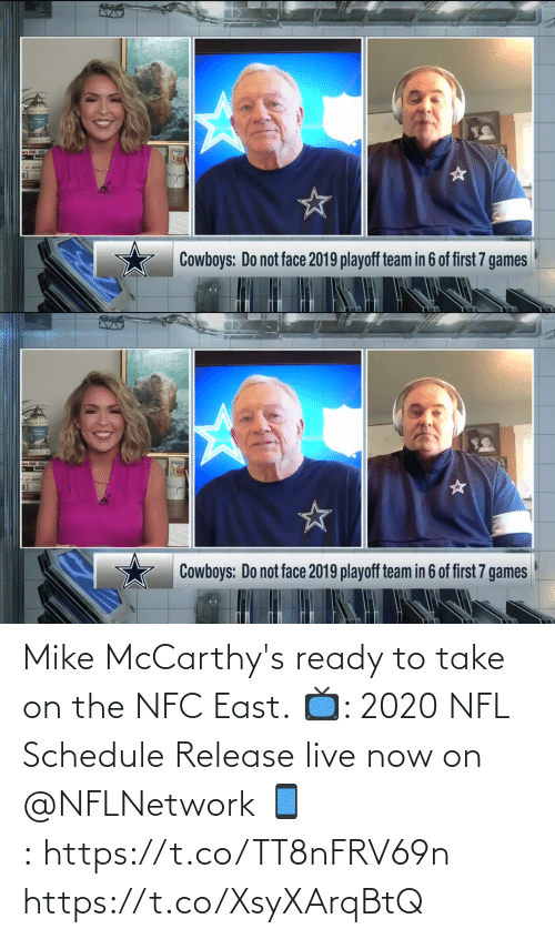 nfc east: Mike McCarthy's ready to take on the NFC East.  📺: 2020 NFL Schedule Release live now on @NFLNetwork 📱:https://t.co/TT8nFRV69n https://t.co/XsyXArqBtQ