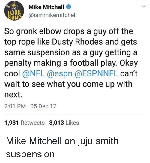 Dusty Rhodes: Mike Mitchell  @iammikemitchell  So gronk elbow drops a guy off the  top rope like Dusty Rhodes and gets  same suspension as a guy getting a  penalty making a football play. Okay  cool (aNFL @espn @ESPNNFL can't  wait to see what you come up with  next  2:01 PM 05 Dec 17  1,931 Retweets 3,013 Like:s