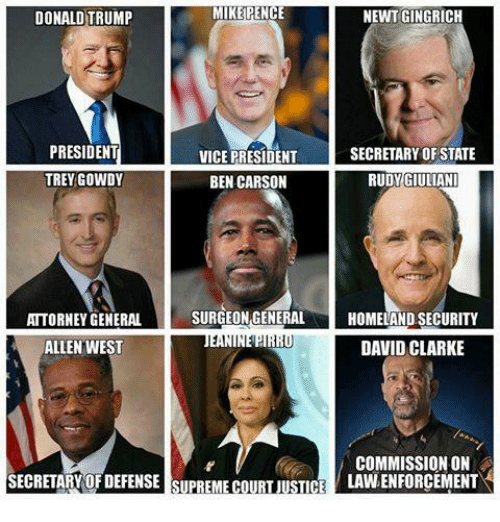 trey gowdy: MIKE PENCE  NEWT GINGRICH  DONALD TRUMP  PRESIDENT  SECRETARY OF STATE  VICE PRESIDENT  TREY GOWDY  BEN CARSON  RUDY GIULIANI  SURGEON GENERAL  HOMELAND SECURITY  ATTORNEY GENERAL  ALLEN WEST  DAVID CLARKE  COMMISSION ON  SECRETARY OF DEFENSE SUPREME COURT JUSTICE  LAVNENFORCEMENT