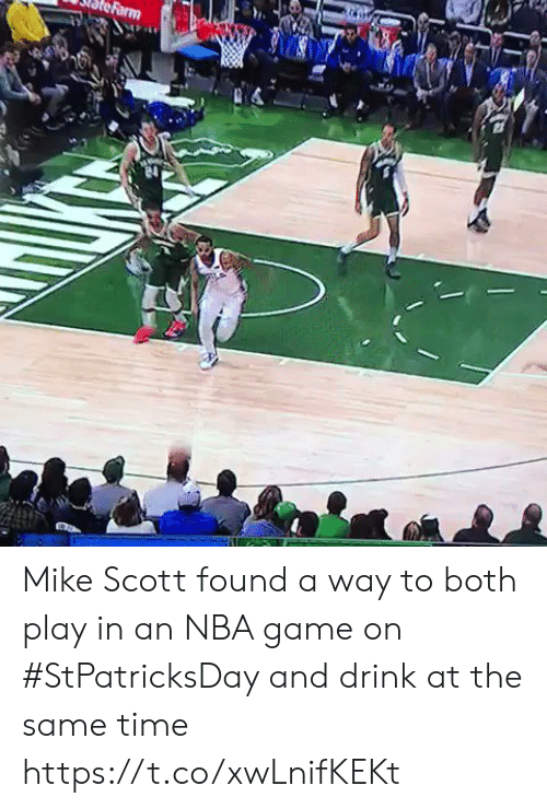 game on: Mike Scott found a way to both play in an NBA game on #StPatricksDay and drink at the same time https://t.co/xwLnifKEKt