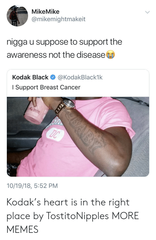 Kodak Black: MikeMike  @mikemightmakeit  nigga u suppose to support the  awareness not the disease  Kodak Black @KodakBlack1k  l Support Breast Cancer  10/19/18, 5:52 PM Kodak's heart is in the right place by TostitoNipples MORE MEMES