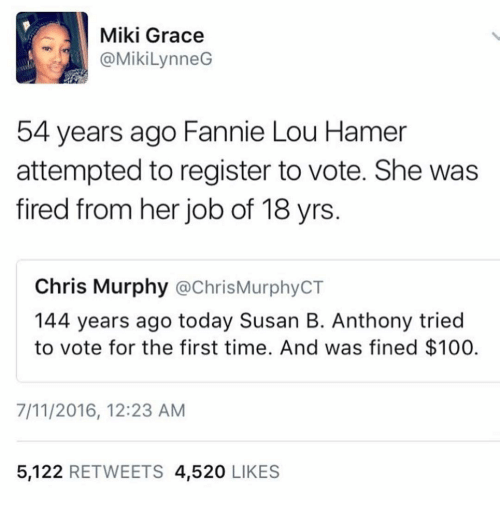 Fannie Lou Hamer: Miki Grace  @Miki LynneG  54 years ago Fannie Lou Hamer  attempted to register to vote. She was  fired from her job of 18 yrs.  Chris Murphy  achrisMurphyCT  144 years ago today Susan B. Anthony tried  to vote for the first time. And was fined $100.  7/11/2016, 12:23 AM  5,122  RETWEETS 4,520  LIKES