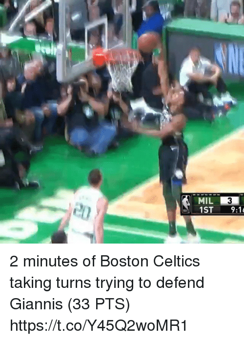 Boston Celtics: MIL 2 minutes of Boston Celtics taking turns trying to defend Giannis (33 PTS)  https://t.co/Y45Q2woMR1