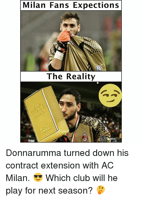 Club, Soccer, and Sports: Milan Fans Expections  The Reality Donnarumma turned down his contract extension with AC Milan. 😎 Which club will he play for next season? 🤔
