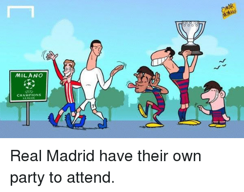 Party, Real Madrid, and Soccer: MILANO  CHAMPIONS Real Madrid have their own party to attend.