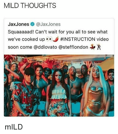 Memes, Soon..., and Video: MILD THOUGHTS  JaxJones @JaxJones  Squaaaaad! Can't wait for you all to see what  we've cooked up·.。#INSTRUCTION video  soon come @ddlovato @stefflondon-k.A mILD