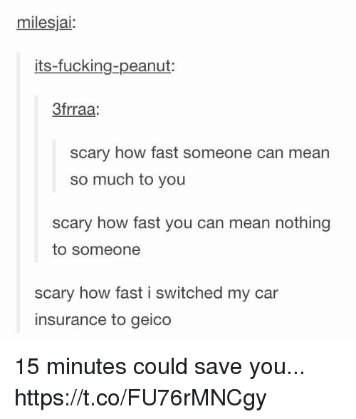 geico: milesjai:  its-fucking-peanut:  3frraa  scary how fast someone can mean  so much to you  scary how fast you can mean nothing  to someone  scary how fast i switched my car  insurance to geico 15 minutes could save you... https://t.co/FU76rMNCgy