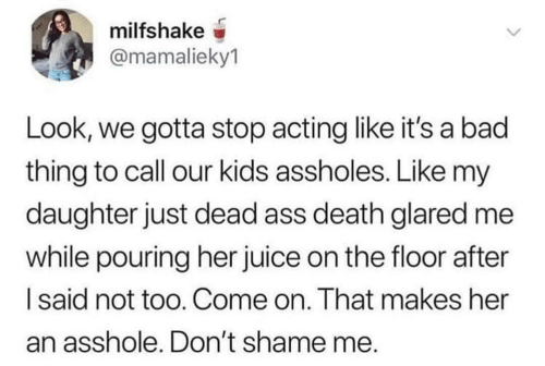 Juice: milfshake  @mamalieky1  Look, we gotta stop acting like it's a bad  thing to call our kids assholes. Like my  daughter just dead ass death glared me  while pouring her juice on the floor after  Isaid not too. Come on. That makes her  an asshole. Don't shame me.