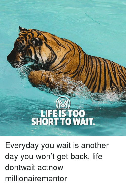Life, Memes, and Too Short: MILIONAIRE MENTOR  LIFEIS TOO  SHORT TO WAIT. Everyday you wait is another day you won't get back. life dontwait actnow millionairementor
