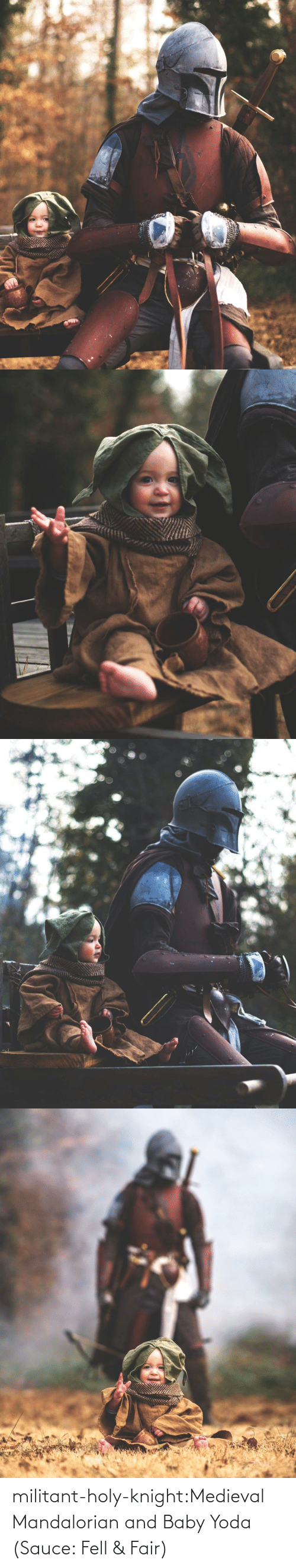 Yoda: militant-holy-knight:Medieval Mandalorian and Baby Yoda (Sauce: Fell & Fair)