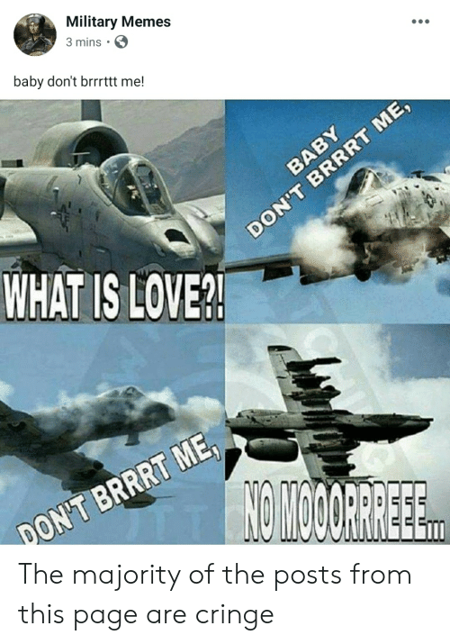 Military Memes: Military Memes  3 mins  baby don't brrrttt me!  WHAT IS LOVE? The majority of the posts from this page are cringe