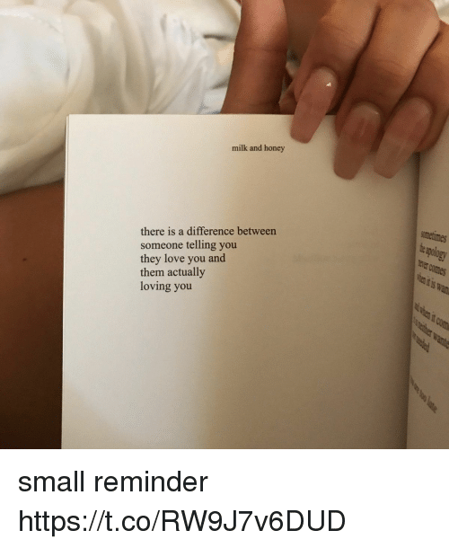 Love, Girl Memes, and Honey: milk and honey  ametimes  pology  there is a difference between  someone telling you  they love you and  them actually  loving you small reminder https://t.co/RW9J7v6DUD