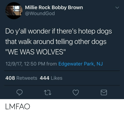 "Bobby Brown: Millie Rock Bobby Brown  @WoundGod  Do y'all wonder if there's hotep dogs  that walk around telling other dogs  ""WE WAS WOLVES""  12/9/17, 12:50 PM from Edgewater Park, NJ  408 Retweets 444 Likes LMFAO"
