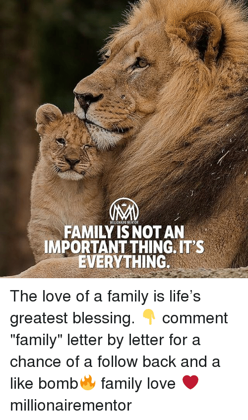 """Importanter: MILLIONAIRE MENTOR  FAMILY IS NOT AN  IMPORTANT THING. IT'S  EVERYTHING The love of a family is life's greatest blessing. 👇 comment """"family"""" letter by letter for a chance of a follow back and a like bomb🔥 family love ❤️ millionairementor"""