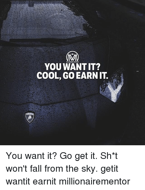 Fall, Memes, and Cool: MILLIONAIRE MENTOR  YOU WANT IT?  COOL, GO EARNIT. You want it? Go get it. Sh*t won't fall from the sky. getit wantit earnit millionairementor