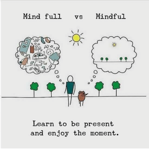 🤖: Mind full vs Mindful  Learn to be present  and enjoy the moment.