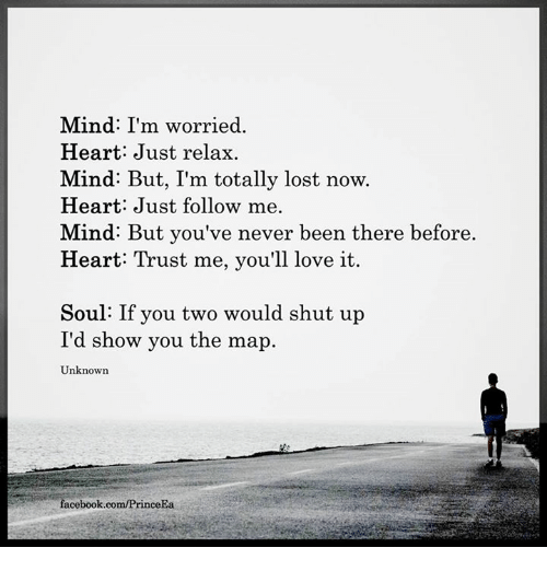 Just Relaxing: Mind: I'm worried.  Heart Just relax.  Mind: But, I'm totally lost now.  Heart: Just follow me.  Mind: But you've never been there before  Heart: Trust me, you'll love it.  Soul: If you two would shut up  I'd show you the map  Unknown  facebook.com/PrinceEa