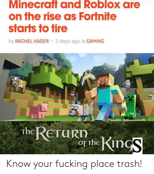 roblox: Minecraft and Roblox are  on the rise as Fortnite  starts to tire  by RACHEL KASER  2 days ago in GAMING  Credit: Miorasoft  RETURDhKinS  The Know your fucking place trash!