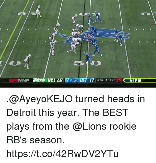 rbs: MINFNYJ48  DET 171 4TH 15:00 15  E 17 4TH 15:00 15st  ISt E D .@AyeyoKEJO turned heads in Detroit this year.  The BEST plays from the @Lions rookie RB's season. https://t.co/42RwDV2YTu