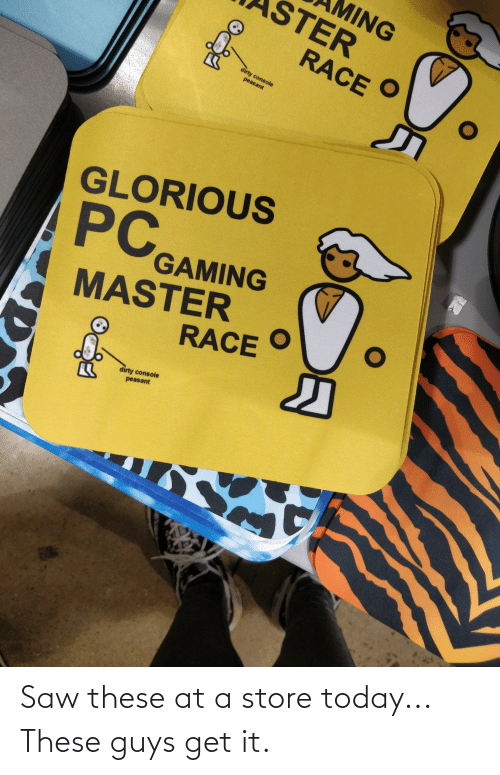 Pc Gaming Master Race: MING  STER  RACE  dirty console  peasant  GLORIOUS  Surve  PC  GAMING  MASTER  RACE  dirty console  peasant Saw these at a store today... These guys get it.