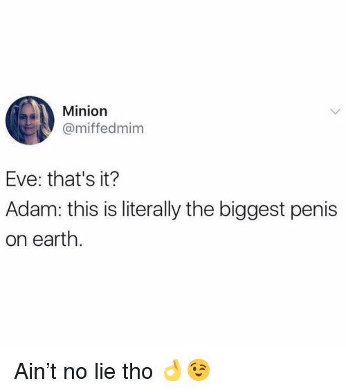 Memes, Earth, and Minion: Minion  @miffedmim  Eve: that's it?  Adam: this is literally the biggest penis  on earth Ain't no lie tho 👌😉