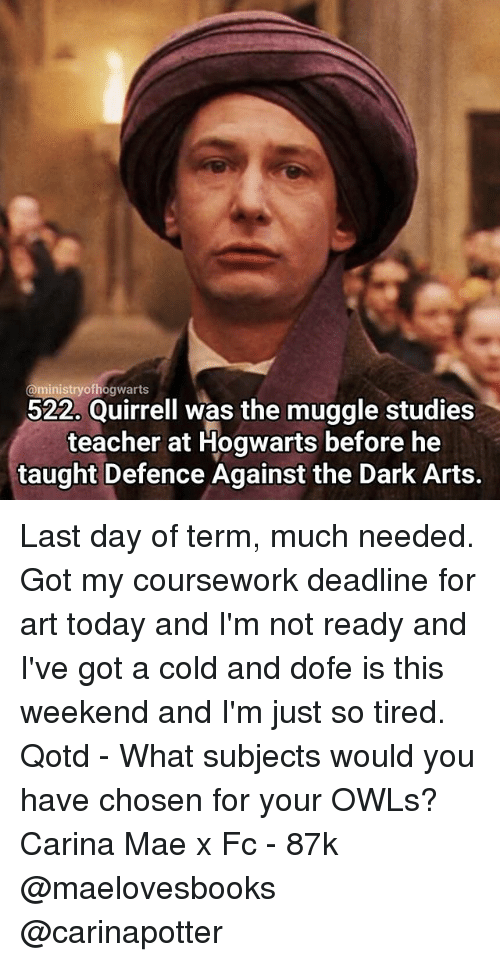 Ofh Hogwarts 522 Quirrell Was The Muggle Studies Teacher At