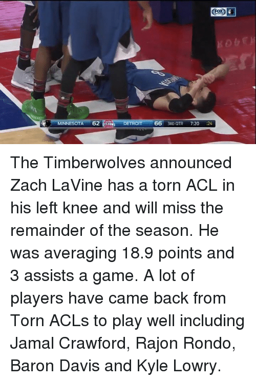 Rajon Rondo: MINNESOTA  62  ESTONS DETROIT 66  3RD QTR  7:20  24 The Timberwolves announced Zach LaVine has a torn ACL in his left knee and will miss the remainder of the season. He was averaging 18.9 points and 3 assists a game. A lot of players have came back from Torn ACLs to play well including Jamal Crawford, Rajon Rondo, Baron Davis and Kyle Lowry.