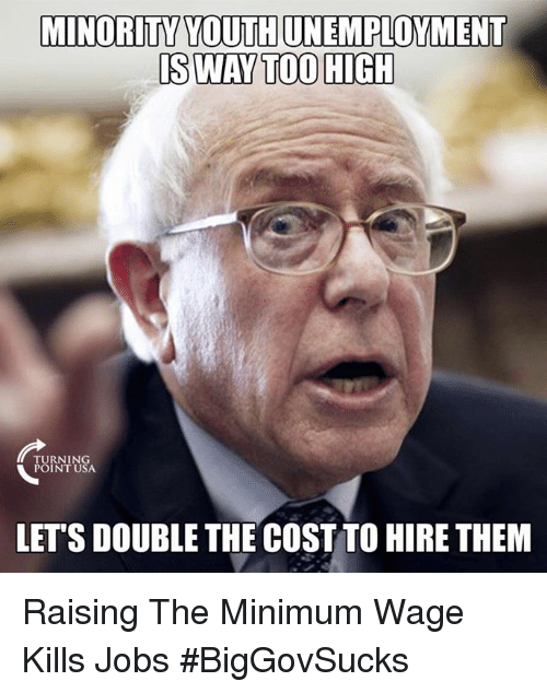 Memes, Jobs, and Minimum Wage: MINORITY TOUTHUNEMPLOYMENT  IS WAY TOO HIGH  TURNING  POINT USA.  LETS DOUBLE THE COST TO HIRE THEM Raising The Minimum Wage Kills Jobs #BigGovSucks