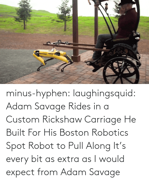 i would: minus-hyphen: laughingsquid: Adam Savage Rides in a Custom Rickshaw Carriage He Built For His Boston Robotics Spot Robot to Pull Along   It's every bit as extra as I would expect from Adam Savage