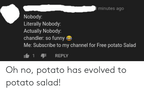 potato salad: minutes ago  Nobody:  Literally Nobody:  Actually Nobody:  chandler: so funny e  Me: Subscribe to my channel for Free potato Salad  REPLY Oh no, potato has evolved to potato salad!