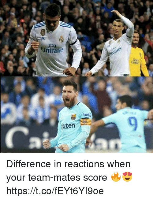 Soccer, Team, and Score: mirates  tr  bekd  9  uten Difference in reactions when your team-mates score 🔥😍 https://t.co/fEYt6YI9oe