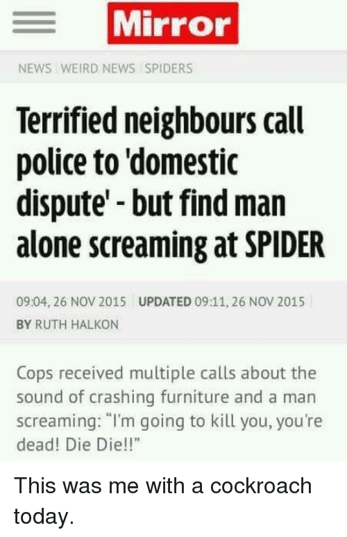 "Im Going To Kill You: Mirror  NEWS WEIRD NEWS SPIDERS  Terrified neighbours call  police to 'domestic  dispute but find man  alone screaming at SPIDER  09:04, 26 NOV 2015  UPDATED 09:11, 26 NOV 2015  BY RUTH HALKON  Cops received multiple calls about the  sound of crashing furniture and a man  screaming: ""I'm going to kill you, you're  dead! Die Die!!"" <p>This was me with a cockroach today.</p>"