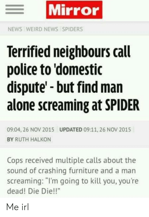 "Im Going To Kill You: Mirror  NEWS WEIRD NEWS SPIDERS  Terrified neighbours call  police to 'domestic  dispute'-but find man  alone screaming at SPIDER  09:04, 26 NOV 2015  UPDATED 09:11, 26 NOV 2015  BY RUTH HALKON  Cops received multiple calls about the  sound of crashing furniture and a man  screaming: ""I'm going to kill you, you're  dead! Die Die!!"" Me irl"