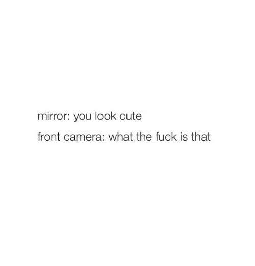Girl Memes: mirror: you look cute  front camera: what the fuck is that